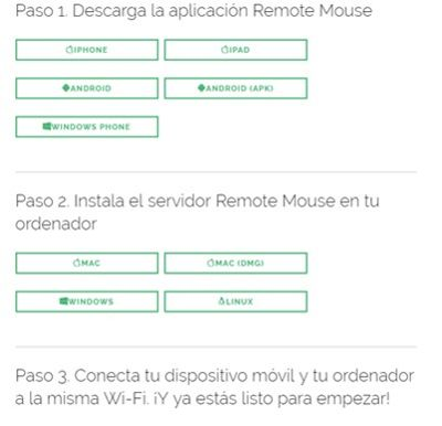 Remote Mouse para pc y móvil