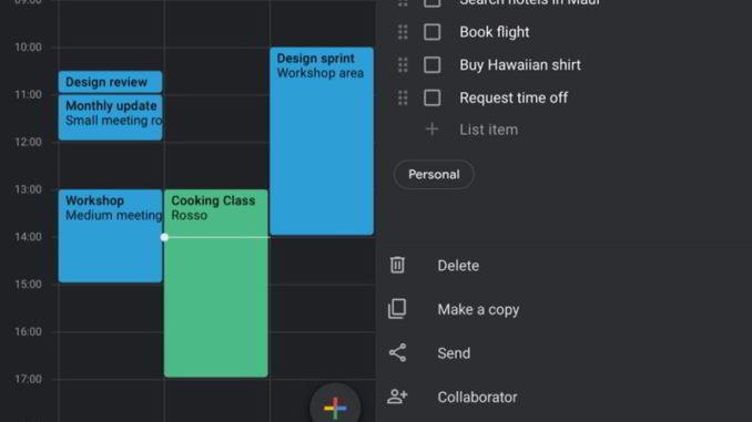 Modo oscuro de Google Keep y Google calendario