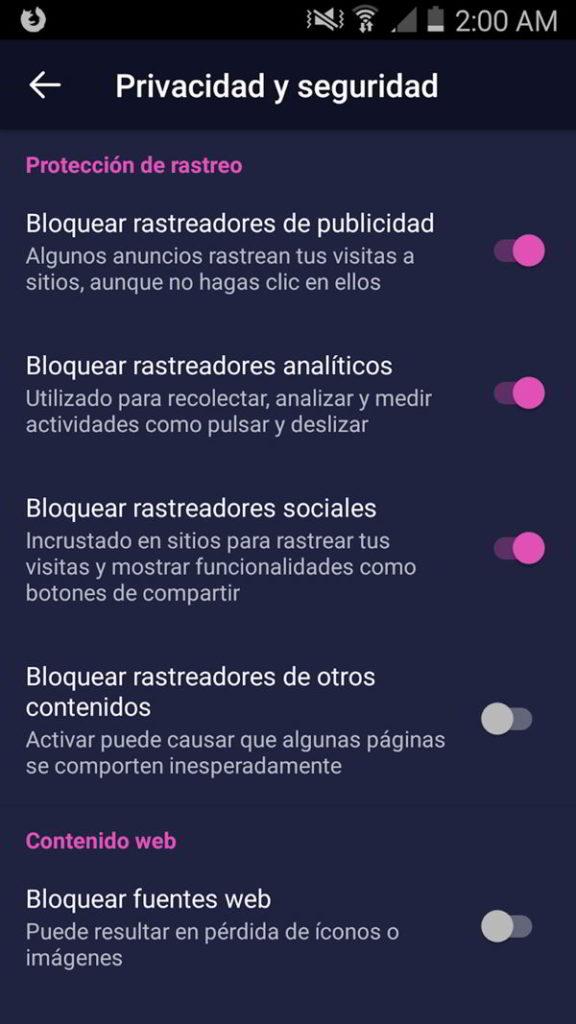 Privacidad y ajustes de Firefox Focus